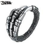 ZABRA Solid 925 Sterling Silver Steampunk Eagle Paw Open Rings For Men Women Vintage Retro Thai Silver <b>Handmade</b> Process <b>Jewelry</b>