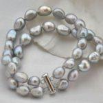 Lii Ji 925 Sterling <b>Silver</b> Jewelry Baroque Pearl 10-11mm 2 Row <b>Bracelet</b> 17-19cm