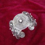 Ethnic style Miao ethnic <b>jewelry</b> Female <b>handmade</b> Miao silver bracelet Arm bracelet Wide pattern bracelet