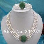 wholesale good 3Rows 7-8mm White Pearl+STONE GEM clasp necklace <b>bracelet</b>
