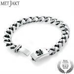 MetJakt Vintage Punk Anchor <b>Bracelet</b> Solid Real 925 Sterling <b>Silver</b> Plug <b>Bracelets</b> for Cool Male Biker Handmade Jewelry 20cm