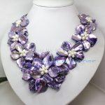 YH@CS >>white pearl purple mother of pearl shell flower <b>handmade</b> necklace 18″ <b>jewelry</b>