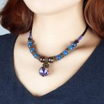 BOEYCJR Blue Natural Stone Beads Necklace Choker Short Chain <b>Handmade</b> Vintage <b>Jewelry</b> Ethnic Pendant Necklace For Women 2017