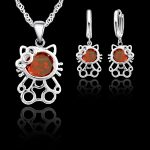 JEXXI Trendy Cubic Zirconia Cat Pendant Necklace Earrings Party Sets For Girls Gift 925 Sterling <b>Silver</b> <b>Jewelry</b> Sets For Women