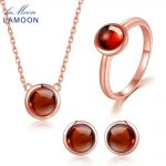 LAMOON 18K Rose Gold 925 Sterling <b>Silver</b> Jewelry Jewelry Set 100% Natural Round Red Garnet Necklace <b>Earrings</b> Ring Set V034-1