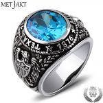 MetJakt S925 <b>Sterling</b> <b>Silver</b> Blue Topaz Ring & Vintage Thai <b>Silver</b> Hand Carved Eagle Wings Rings for Man and Women Fine <b>Jewelry</b>