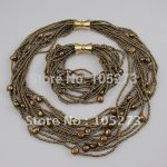 Wholesale Elegant pearl <b>necklace</b> AA 6-9MM Brown color fresh water pearl <b>necklace</b> bracelet 12rows <b>jewelry</b> set A1626