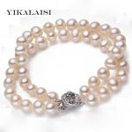 YIKALAISI 2017 New Fashion 100% Natural White Freshwater Pearl <b>Bracelet</b> with 925 sterling <b>silver</b> jewelry Clasp Cultured pearl