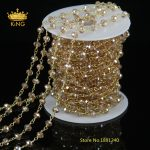 5 Meter Wire Wrapped Beaded Chain Plated Gold Rosary Chain Imitation Glass Beads Size 4x6mm for <b>Jewelry</b> <b>Making</b> JD0138