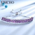 UMCHO Created Amethyst Gemstone <b>Bracelet</b> 925 Sterling <b>Silver</b> <b>Bracelets</b> Free Expansion Wedding Bands Gift For Women Fine Jewelry