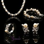 Wholesale Fashion <b>Silver</b>/Gold Color Necklace Earrings <b>Bracelet</b> Rings Crystal Imitation Pearl Wedding And Party Jewelry Sets