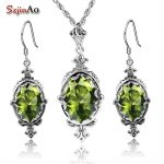 Szjinao Authentic 925 <b>Sterling</b> <b>Silver</b> Set Bridal <b>Jewelry</b> Olive African Wedding <b>Jewelry</b> Sets For Women Handmade Earrings/Pendant