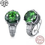J.C For Girlfriend Brilliant Round Cut Ruby & Emerald Topaz Delicate <b>Earrings</b> Solid 925 Sterling <b>Silver</b> <b>Earring</b> Fine Jewelry