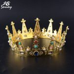 Snuoy King Crown and Tiara For Men Golden Colorful Crystals Birthday Diadem For <b>Wedding</b> Hair Accessories <b>Jewelry</b> Drop Shipping