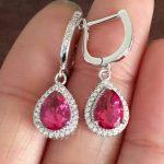 natural pink topaz stone drop <b>earrings</b> 925 <b>silver</b> Natural gemstone <b>earring</b> women Elegant personality drop <b>Earrings</b> for party