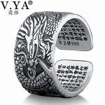 V.YA 990 Sterling Silver Dragon Rings for Men Homme Vintage Open Ring Thai Silver <b>Jewelry</b> Cool Birthday Party Gift