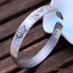 Real Pure 999 <b>Sterling</b> <b>Silver</b> Mantra Cuff Bracelet For Women And Men Carving Lotus Shifting Luck Buddhist <b>Jewelry</b>