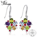 JewelryPalace Flower Multicolor 6.2ct Natural Amethyst Garnet Peridot Citrine Blue Topaz Dangle <b>Earrings</b> 925 Sterling <b>Silver</b>