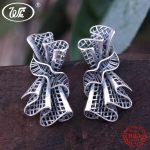 WK 925 Thai <b>Silver</b> Unique Design Black Strapless Party Dress Handmade Stud <b>Earrings</b> For Women Banquet Jewelry Gift NEW 4W EA101
