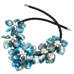2018 Female Europe Chic Fashion Blue Turquoises Mother Of Pearl Shell Flower <b>Necklace</b> For Womens Wedding & Engagement <b>Jewelry</b>