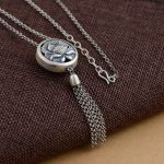 925 <b>Silver</b> Round Pendant Necklace for Women Flower Tassel Accessorice 75cm Chain S925 Thai Solid <b>Silver</b> <b>Jewelry</b> Making Necklaces