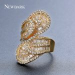 NEWBARK Especial Big Leaf Design Rings Stacked Double Leaves Channel Setting Gold Color Crystal For Female <b>Wedding</b> Ring <b>Jewelry</b>