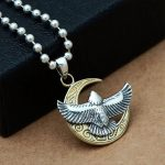 MetJakt 925 Sterling <b>Silver</b> Pendant for Necklace & Eagle and Moon Pendant for Cool Men Vintage Punk Personality Style <b>Jewelry</b>