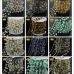 5Meter Mix Stone Multi Color Wire Wrapped Beaded Rosary Chain Faceted Chip Crystal Beads <b>Jewelry</b> Chain for Necklace <b>Making</b> JD029