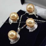 Women's Wedding Golden South sea Shell Pearl Earrings Ring & Necklace Pendant Set >AAA GP Bridal wi brinco