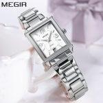 New Megir Brand Luxury Simple Style <b>Silver</b> Quartz Watches Women Clock Steel Rectangle Ladies Wrist Watch Women relogio feminino