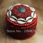 TJB953 Tibetan <b>handmade</b> shell coral beaded <b>jewelry</b> box,7.5cm,big round tent