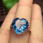 Fashion romantic grace heart Natural blue topaz gem Ring Natural gemstone ring S925 <b>silver</b> women Lover girl anniversary <b>Jewelry</b>