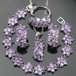 Bridal Purple Zirconia <b>Silver</b> 925 Wedding Jewelry Sets <b>Bracelets</b> Stones Earrings For Women Pendant Necklace Rings Set Gift Box