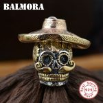 BALMORA 100% Real 925 Sterling <b>Silver</b> Skull Pendants Wearing a Hat for <b>Necklaces</b> Men Accessories Skull Cool Jewelry SY12423