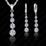 Jemmin Romantic 925 Sterling <b>Silver</b> Link Chain Crystal Pendant Necklace Jewelry Set For Women <b>Earrings</b> Wedding Jewelry Sets