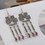 FNJ 925 <b>Silver</b> Tassel <b>Earrings</b> for Women Jewelry Red Zircon Stone 100% S925 Sterling <b>Silver</b> boucle d'oreille Drop <b>Earring</b>