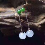 TJP natural GEMSTONE citrineb Hetian jade White jade jasper Long sectio round beads mosaic S925 <b>silver</b> <b>earring</b> hetian white jade