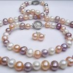 Prett Lovely Women's Wedding shipping> new natural 8-9mm mixed-colour pearl Necklaces Bracelets Earrings sets 18″ 7.5″