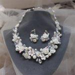 2016 New Trend Bridal White Ceramic Rose flower Necklace Earrings pearls rhinestone Wedding <b>Jewelry</b> Sets dress <b>accessories</b> Gift