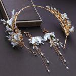 Gold Color Headband Rhinestone Beaded Hair <b>Jewelry</b> <b>Handmade</b> Plant Design Headdress Ornament Long Drop Earrings for Wedding Gifts