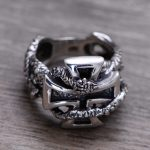 100% Genuine 925 Sterling <b>Silver</b> Retro Men Male Ring Thai <b>Silver</b> Fine <b>Jewelry</b> Gift Snake Cross Heavy Finger Ring CH057436