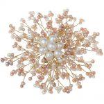 <b>Handmade</b> DIY <b>Jewelry</b> Brooches Women Wedding Bridal Natural White Pink Freshwater Pearl Brooch Flower Charm Shirt Dress Brooches