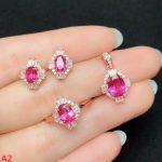 KJJEAXCMY boutique jewels 925 pure <b>silver</b> inlaid powder Topaz Pendant rings <b>earrings</b>, ladies' 3 piece + chain.