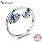 BAMOER Authentic 925 Sterling Silver Tropical Fish Finger Rings for Women Colorful Enamel Sterling Silver Ring <b>Jewelry</b> SCR380