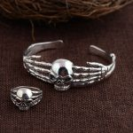 Emperor Gold Jewelry Line Opening Skull <b>Bracelet</b> S925 Pure <b>Silver</b> Thai <b>Silver</b> Wholesale Gift Archaize Style