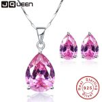 JQUEEN Natural Pink Topaz Necklace and <b>Earrings</b> 925 Sterling <b>Silver</b> Jewelry Sets Wedding Engagement Jewelry Bride Accessories