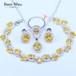 new arrival 925 Logo <b>Silver</b> Color Jewelry Sets Round Yellow/Red Stone White Zircon Anniversary Pendant Earrings <b>Bracelets</b> Sets