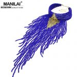 MANILAI Indian <b>Jewelry</b> Handmade Chunky Choker Necklace Long Beaded Tassel Necklaces Statement Collar Women <b>Accessories</b> Big 2017
