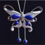 S925 sterling <b>silver</b> mosaic natural Afghanistan lapis lazuli butterflies delicate female models <b>necklaces</b> pendants