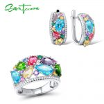 <b>Silver</b> <b>Jewelry</b> Sets For Women Mutil-Color Stones White CZ Earrings Ring Set 925 <b>Sterling</b> <b>Silver</b> Party Fashion <b>Jewelry</b> Set